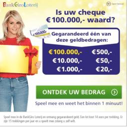 Cheque bankgiroloterij